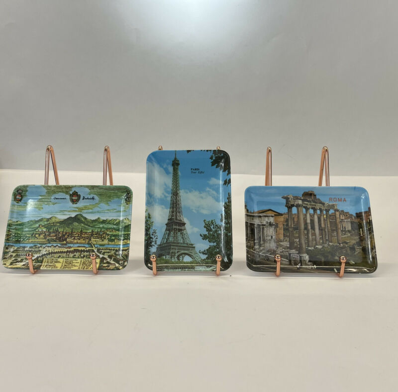 3 Travelers vintage change trinket trays Paris Roma And Austria Set