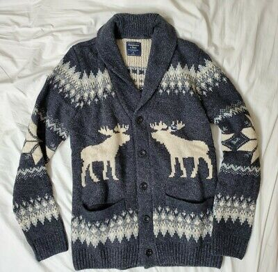 Abercrombie Moose Shawl Cardigan Sweater M Gray