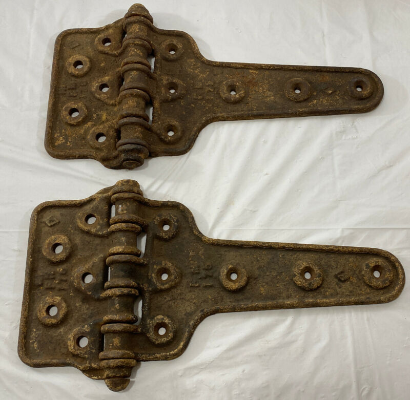 Vintage Pair Of Cast Iron Barn Door Hinges