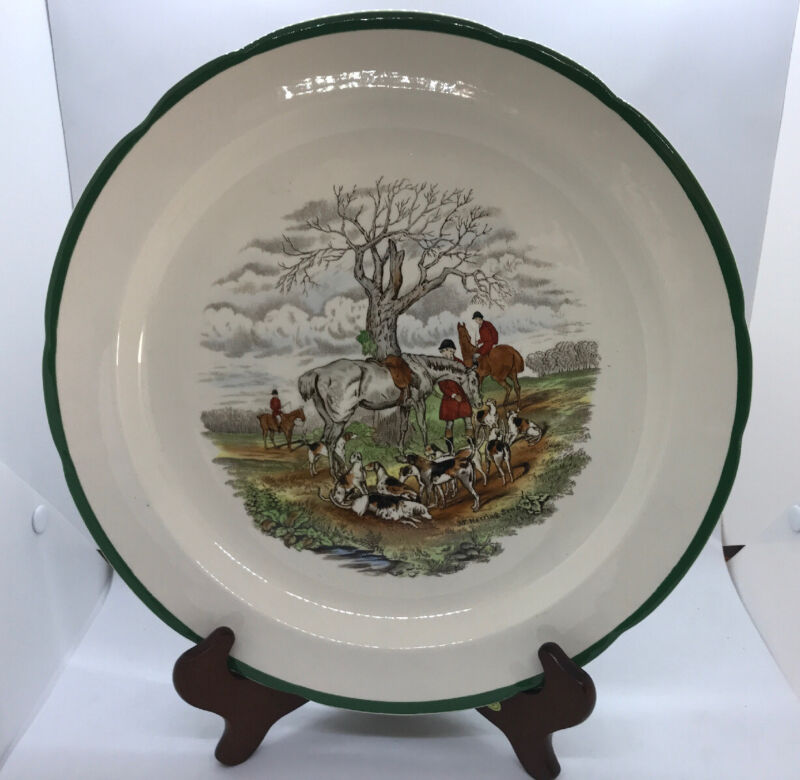 """Vintage Spode Herring Hunt """"The Huntsman"""" 12"""" Round Serving Plate Platter RARE"""