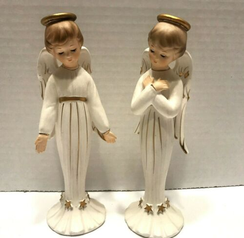 2 Vintage National Potteries Co. Angel Figurines C5408....CHRISTMAS ANGELS
