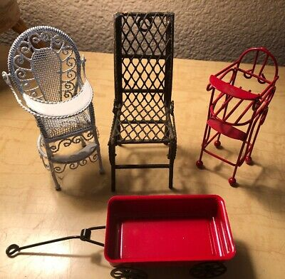 Used, Vintage Collection Of 3 Intricate Miniature Doll House Furniture + Metal Wagon for sale  Newcastle