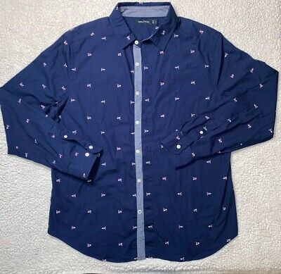 Nautica Mens Blue Button Front Long Sleeve Casual Shirt Size Large