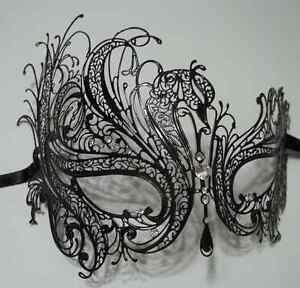 Black-Rhinestone-Swan-Laser-Cut-Venetian-Mask-Masquerade-Metal-Filigree