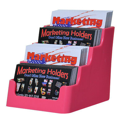 Pink 4 Pocket Business Card Organizer Appointment Gift Cards Display Stand Qty 6