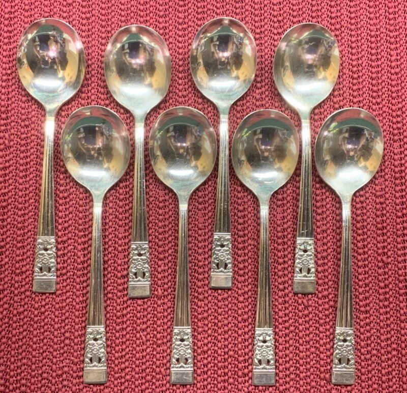 """8 Gumbo Spoons 1936 CORONATION Oneida Community Silverplate 6 7/8"""""""