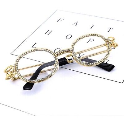 Gold Vintage Glasses Clout Migos CZ Frames Clear Lens Brand New Men's (Migos Glasses Brand)