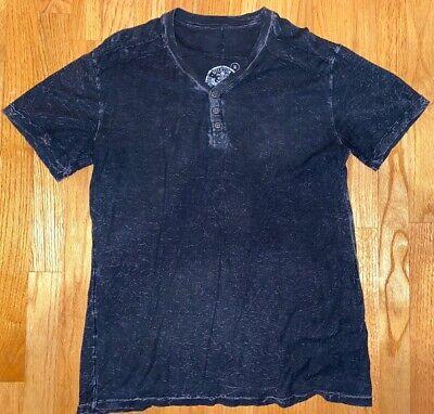 Men's AFFLICTION Black T-Shirt Henley Short Sleeve Size Medium M