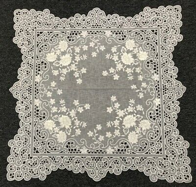 "White Silver Wedding Floral Embroidered Cutwork 33"" Square Embroidery Tablecloth"