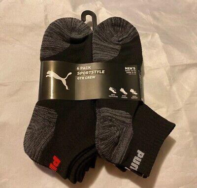 Puma Men's SportStyle 6-Pair QTR Crew Socks. Shoe Size 6-12