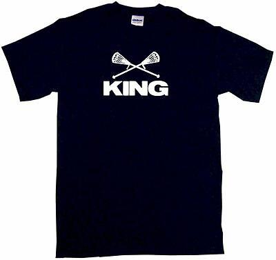 (Crossed Lacrosse Sticks King Mens Tee Shirt Pick Size Color Small-6XL)