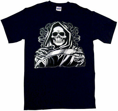 Hooded Grim Reaper With Scythe Mens Tee Shirt Pick Size Color Small-6XL - Reaper Mens Tee