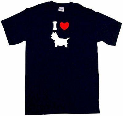 I Heart Love Cairn Terrier Dog Silhouette Mens Tee Shirt (Cairn Terrier Silhouette)