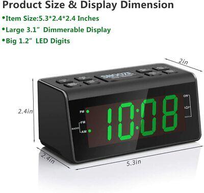 "Jingsense Digital Alarm Clock Radio with AM/FM Radio, 1.2"" Big Digits Display,"