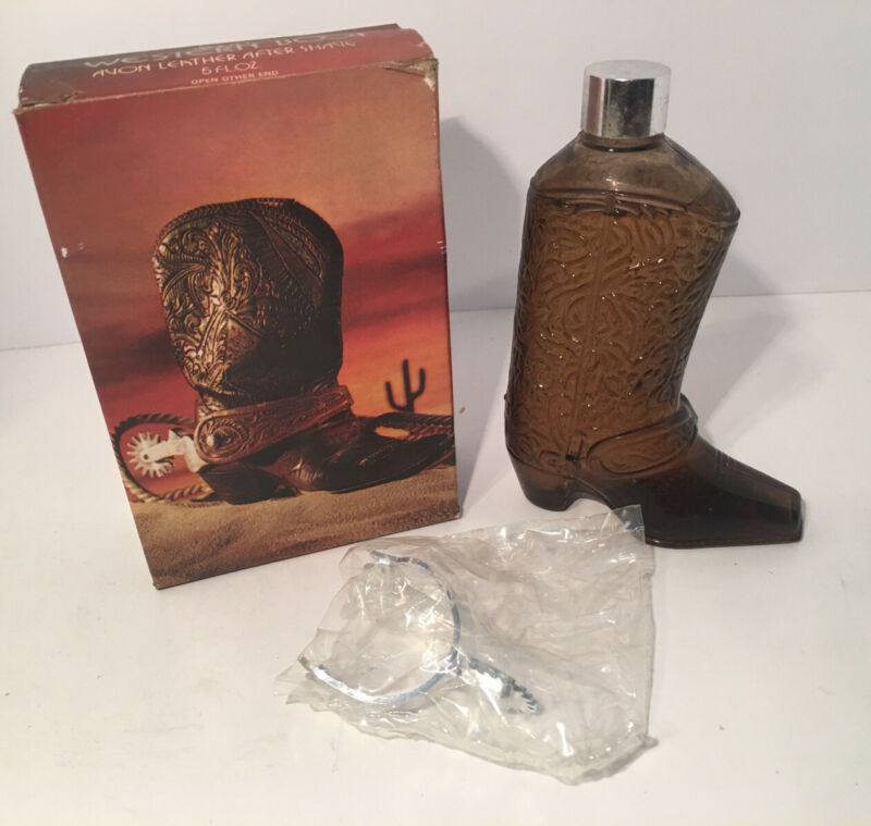 Vintage Avon Western Boot Leather After Shave w/Box & Spur FULL BOTTLE