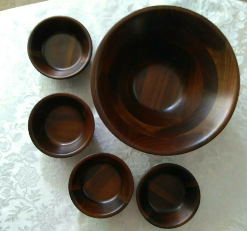 Vintage Mid Century Vermillion Real Walnut Large Salad Bowl  +  4 Serving Bowls