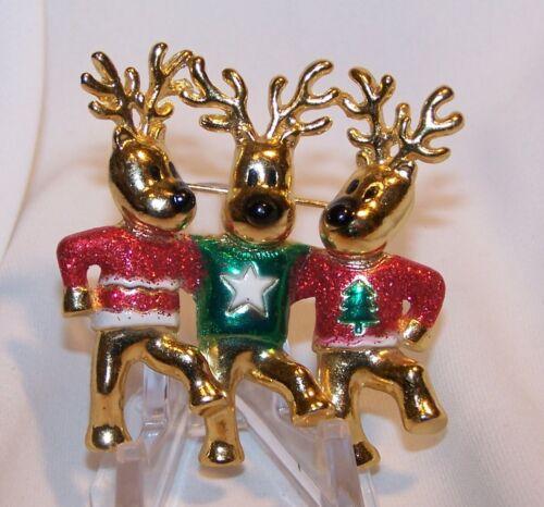 Vintage Christmas Reindeer Dancing-Wearing Ugly Christmas Sweaters-Signed