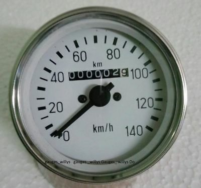 85 Mm M18x1.5 Thread White Face Speedometer Mahindra Cj Or Universal Jeeps Etc