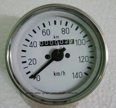 85 Mm M18x1.5 Thread White Face Speedometer Mahindra Cj Or Universal Jeeps Etc