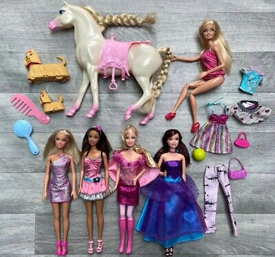 5 MATTEL BARBIE DOLL BUNDLE With Horse Clothes & Accessories