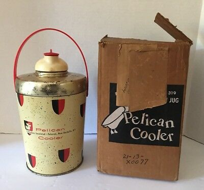 Vintage Pelican Cooler Fiberglass Insulated Thermos Retro Atomic Starburst w/box