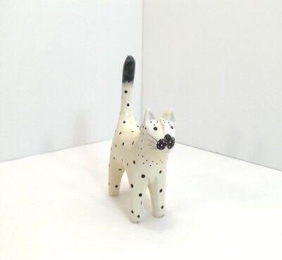 Vintage Black Off White Polka Dot Paper Mache Kitty Cat Ornament Figurine