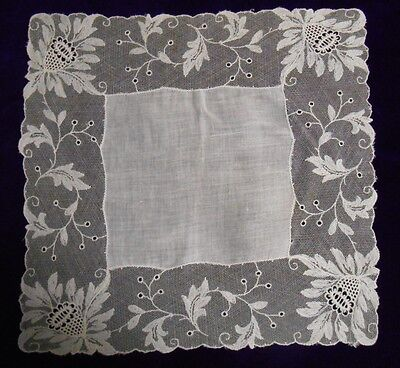 VTG Linen & Embroidered Floral Tambour Net Lace Eyelets Wedding Bridal Hankie