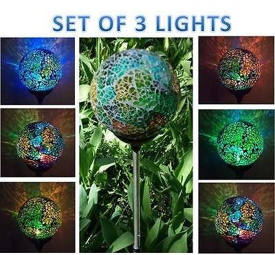 (3x Solar Power Mosaic Glass Ball Garden Stake Lamp Color Change Yard LED Light)