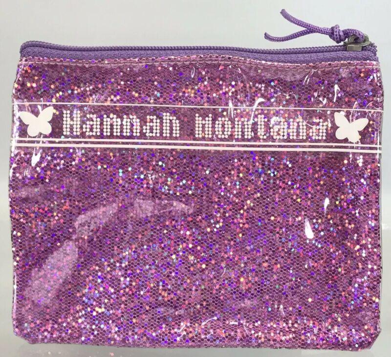 Disney Miley Cyrus Hannah Montana Purple Pink Glitter Zipper Change Purse Pouch