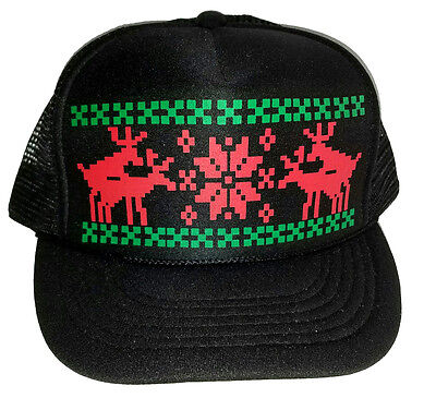 Christmas Trucker Hat (Humping Sex Reindeer Christmas Sweater Party Snapback Mesh Trucker Hat Cap)