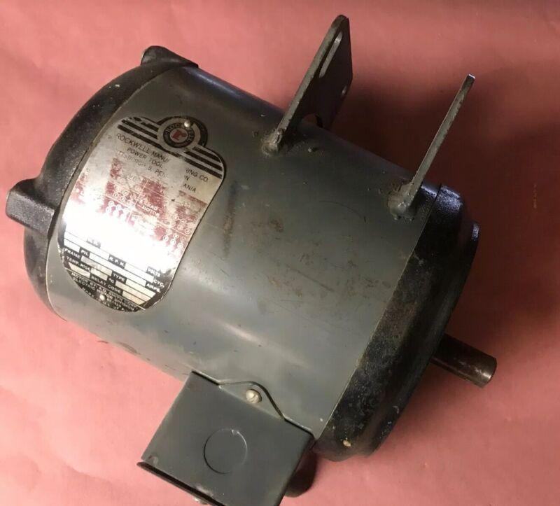 """Vintage Delta Milwaukee Unisaw Motor 1 1/2 HP 3 Phase 3/4"""" Shaft"""