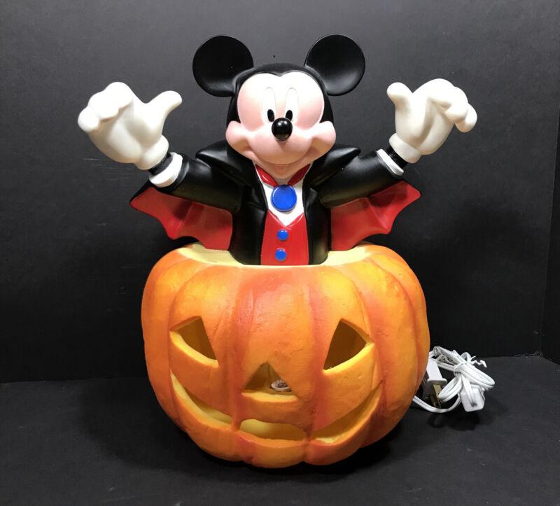 Vintage Disney Halloween Mickey Mouse Pumpkin Jack O Lantern Blow Mold