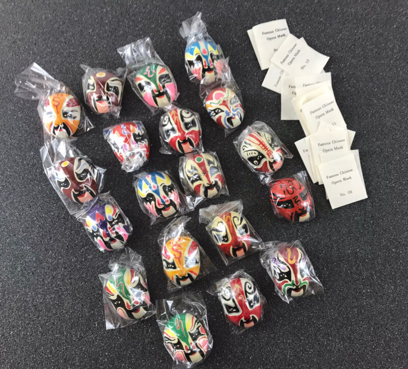 Lot 19 Miniature Mini Plaster 1 inch Chinese Opera Masks Hand Painted w/ Labels