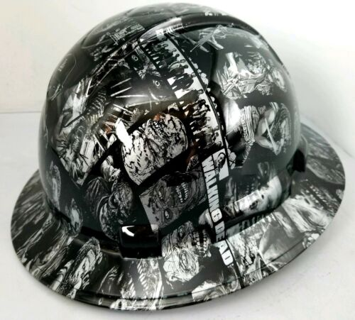 FULL BRIM Hard Hat custom hydro dipped SILVER N BLACK WALKING DEAD ZOMBIE SICK 2