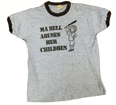 VTG 70's Telophone Worker Ma Bell Abuses Her Children Ringer T Shirt Size Large Blue Kids Ringer T-shirt