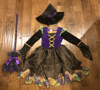 4t Witch Costume (Koala Kids Witch Halloween Costume Dress Hat Broom 4/5 4T)