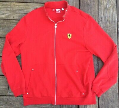 NICE Puma Scuderia Ferrari Men's Full Zip Racing Track Jacket Red US XL