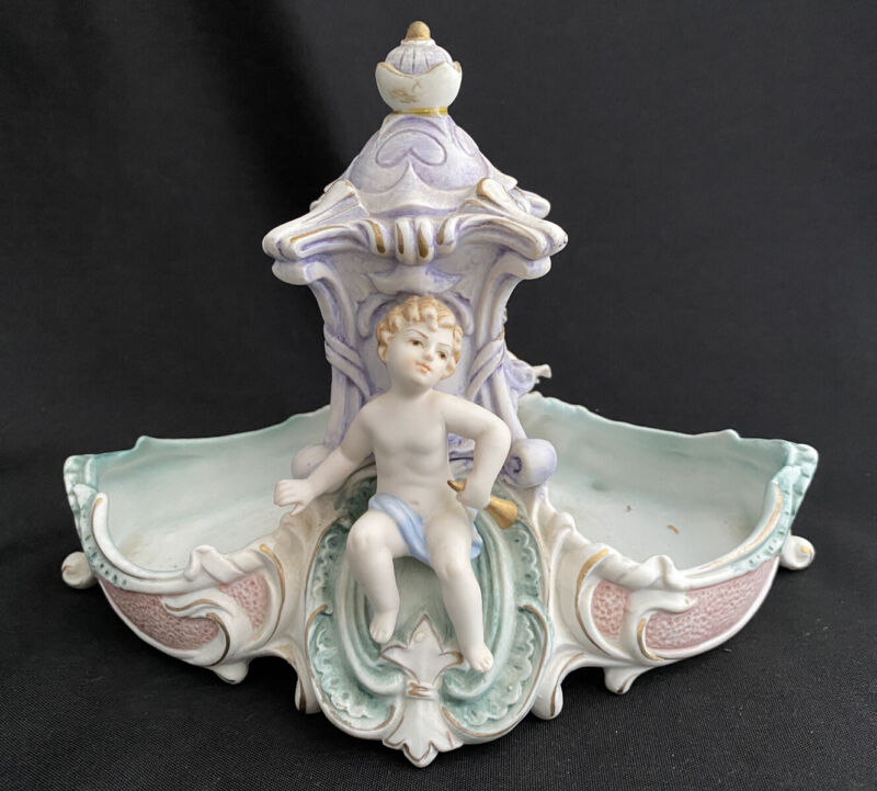 BISQUE CHERUB CHILD PUTTI DOUBLE PLANTER HOLDER DISH VICTORIAN
