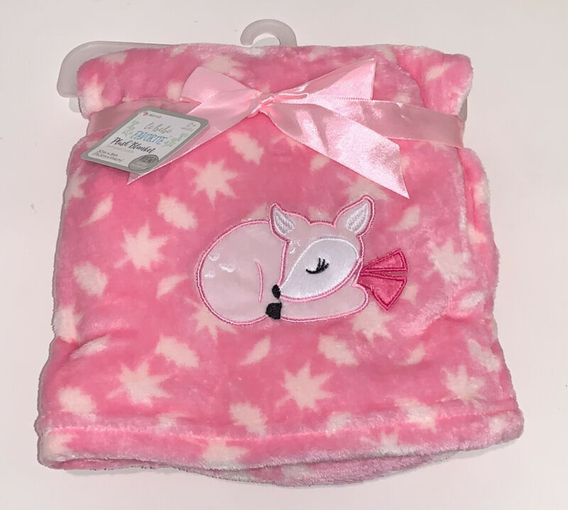 Le Bebe PINK FAWN Baby Blanket Sleeping Deer & Leaves Soft Cuddly Security NEW