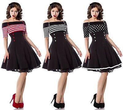 Vintage Kleid Pünktchen Retro Damen Mode 50er Fifties Rockabilly Carmen XS S M L