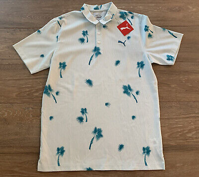 Puma Thursday Shirt Golf Polo Shirt Floral Ocean Depths Blue SZ M ( 599562 01 )
