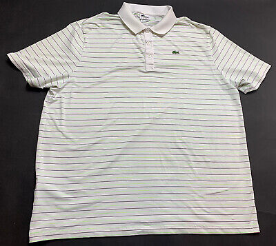 Men's Lacoste Sport Short Sleeve Polo Shirt Size 9 green/black stripes