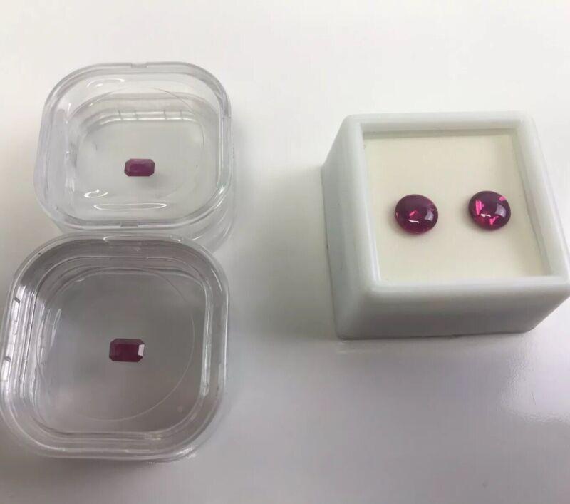 Lot 2 Burma Ruby Rubies and 2 Pink Star Sapphires, Loose Cut Gemstones Specimen
