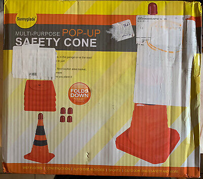 Sunnyglade 4-pack 28 Inch Collapsible Traffic Cones No Led Lights
