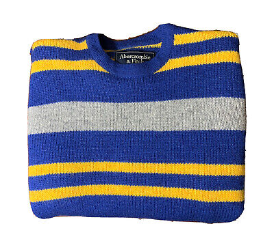 Abercrombie & Fitch Men's Large 100% Wool Long Sleeve Blue And Yellow Sweater