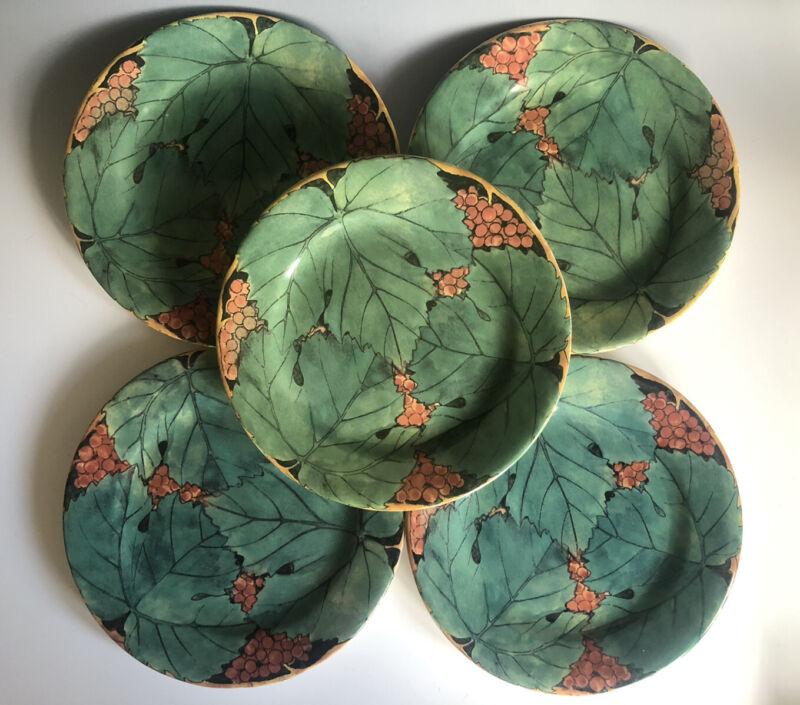 Set Of 5 Vigne Creation D. L Gien France Salad Or Dessert Plates