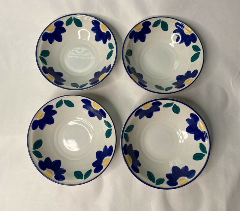 """Set of 4 International Tableworks Blue Napoli #153 Coupe Cereal Bowls 6-7/8"""""""