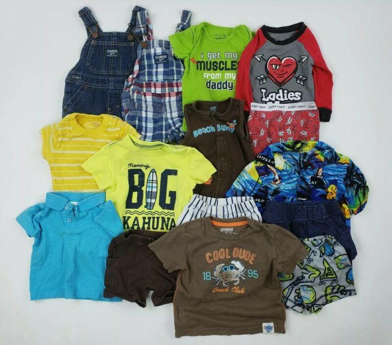 12 Months Boy Oshkosh Carters Place Etc Clothes Lot Outfit Denim Overalls Romper