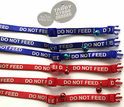 DO NOT FEED CAT COLLARS with REFLECTIVE WRITING, with or without ENGRAVED TAG
