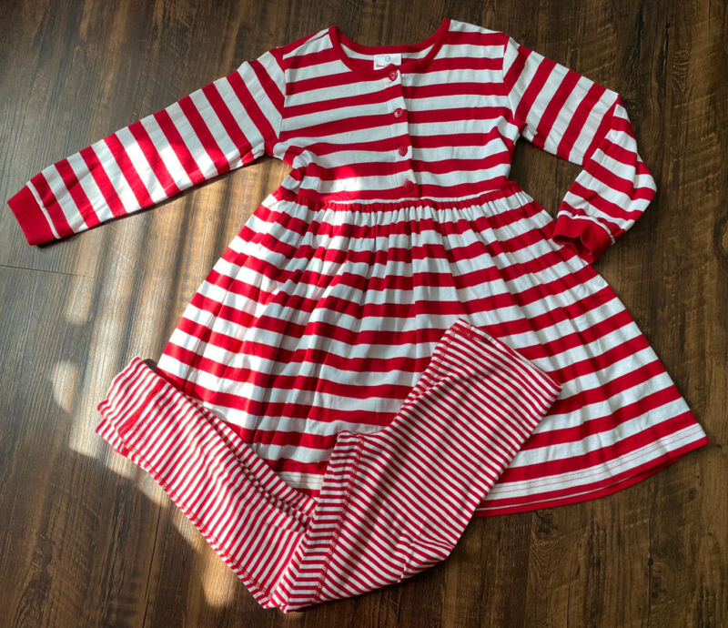 Hanna andersson play day dress w/ leggings red white stripe sz 130